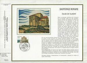 Foglio-CEF-1er-Giorno-Sul-Seta-Francia-Saintonge-Romane-1985