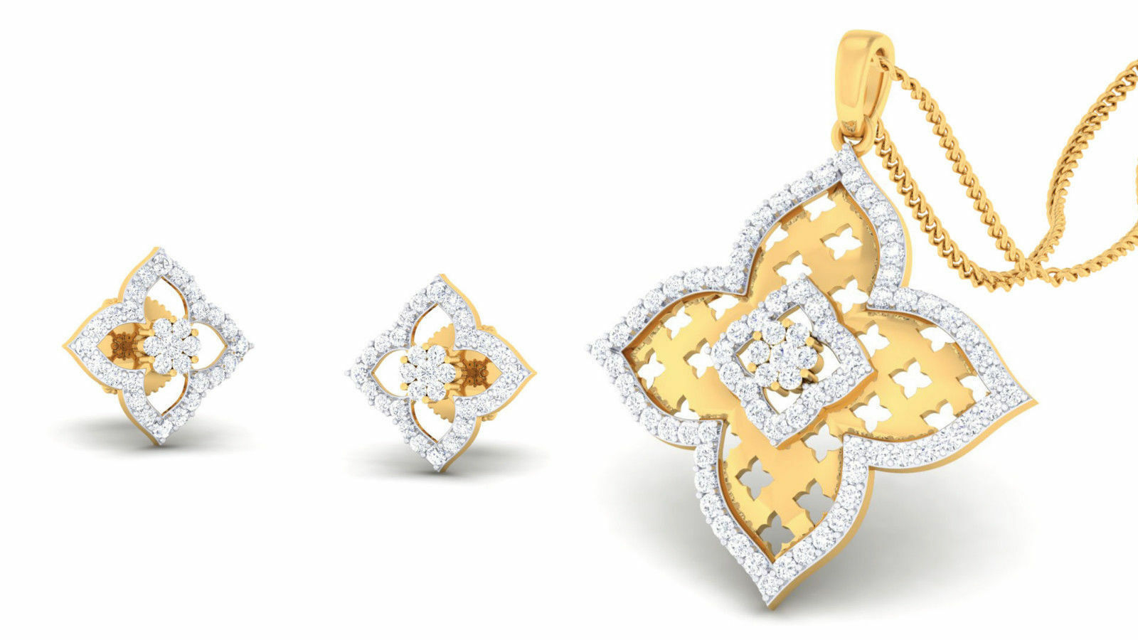 Pave 1.16 Cts Natural Diamonds Pendant Earrings Set In Solid 14Karat Yellow gold