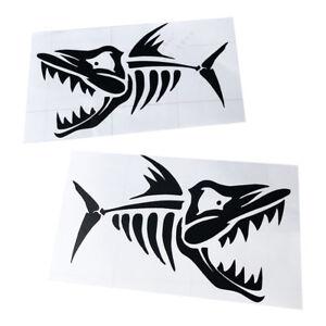 2x Vinyl Skeleton Fish Bone Sticker Decal for Kayak Boat Car Motorcycle Wall