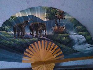 Details Sur Eventail Mural Decoration Elephants Paysage Jungle