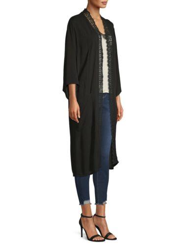 WOMENS LARGE//XL BOHO Kimono Crochet Trim Time /& Tru Black w POCKETS