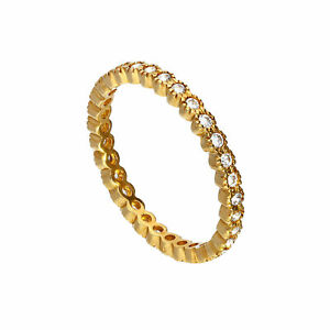 Real-375-9ct-Gold-amp-Clear-CZ-Crystal-Full-Eternity-Stacking-Ring-Size-I-U
