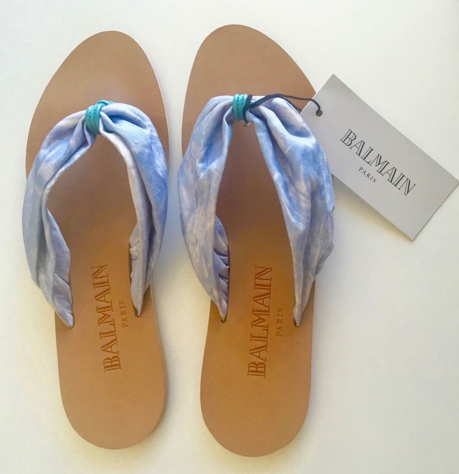 NEW BALMAIN Size 8 Leather & Fabric bluee Sandals Flip Flops Made in