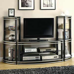 Black Silver Two Tone Entertainment Center TV Stand Media Tower - Tv wall units ebay