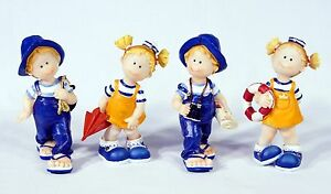 "Hand Painted 4.5"" Kids Sailor Fisherman Statue Figurine Sculpture 229S(Set of 4)"