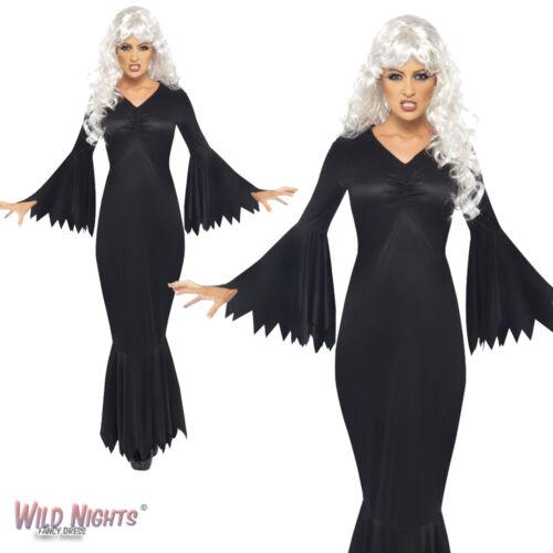 HALLOWEEN FANCY DRESS # LADIES MIDNIGHT VAMP COSTUME  BLACK WITCH VAMPIRESS NEW