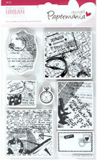 Papermania urban rubber stamp set of Travel print compass fob watch microscope