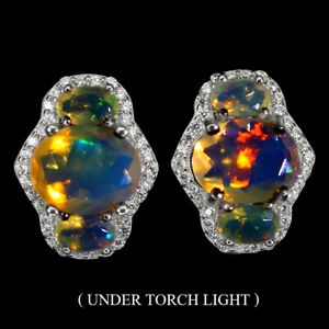 Unheated-Oval-Fire-Opal-9x7mm-Cz-White-Gold-Plate-925-Sterling-Silver-Earrings