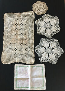 4-Vintage-Doilies-Runners-Lace-Crocheted-amp-Hand-Embroidered-Linen-Cloth-Cover