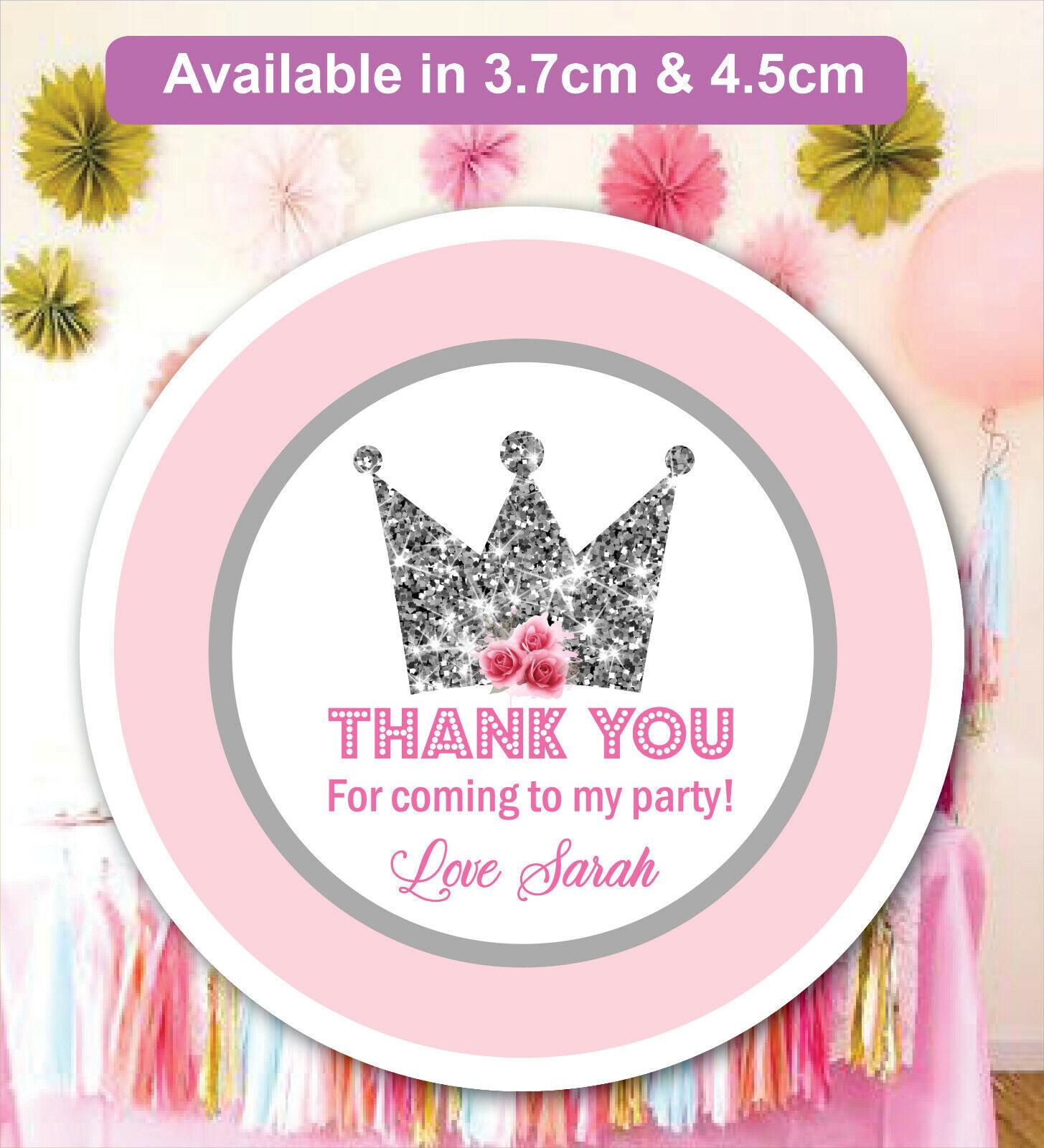 Personalizado Princesa Fiesta De Cumpleaños Bolsa Pegatinas Etiquetas de cono dulce Mate 24 & 35