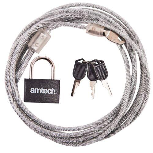 LONG STEEL SECURITY CABLE /& Padlock 3M Nylon Weatherproof Door Lock Tie Down UK