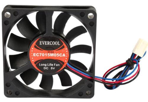 Evercool EC7015M05CA 70mm x 15mm 5V Ball bearing Fan,3Pin