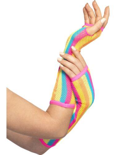 Long Elbow Length Gloves Ladies Striped Neon 1980s 80s Fancy Dress Accessory