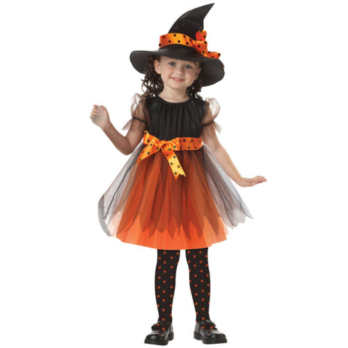 Hat Set Party Costume Dresses Clothes UK Halloween Kids Baby Girls Party Dress