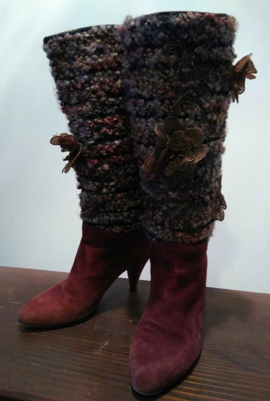 VERO CUOIO Italian WOOL & LEATHER BOOTS Booties SIZE: 6B