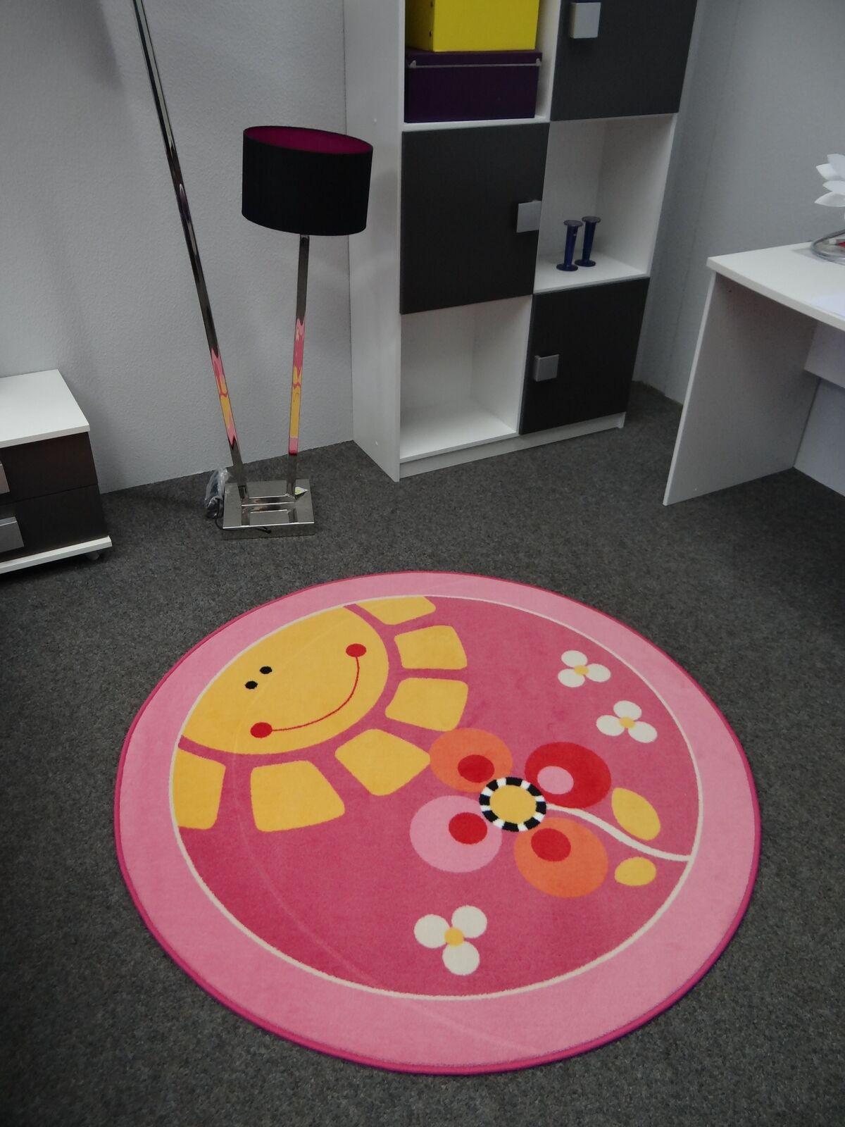 Kinderteppich Sonne Rosa 200 cm rund Spielteppich Kinderzimmer,Spielzimmer   Exquisite Handwerkskunst