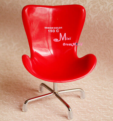 1/6 Barbie Blythe Red Plastic Swivel Chair Dollhouse Miniature