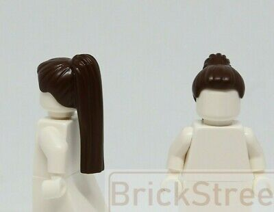 Lego Hair Girl DARK BROWN Long Ponytail Side Bangs Female women Minifigure