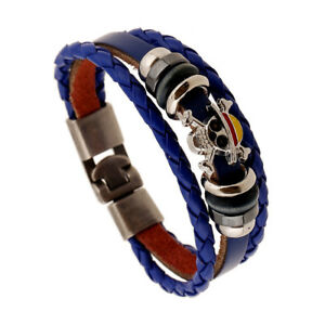 Details About Uni Mens Womens Blue Genuine Leather Skull Bracelet Wristband Punk Bangle