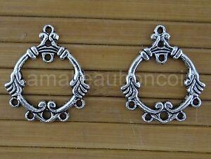 création bijoux SC448 10 Connecteurs Goutte argenté vieilli multi trou 39x26mm