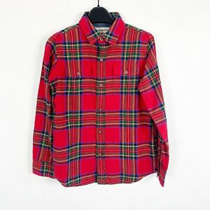 Lands End Red Holiday Christmas Tartan Plaid Button Down