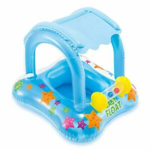 Bebe-Flotteur-Piscine-Enfant-Kiddie-Tube-Radeau-avec-auvent-de-Securite-Enfants-Eau