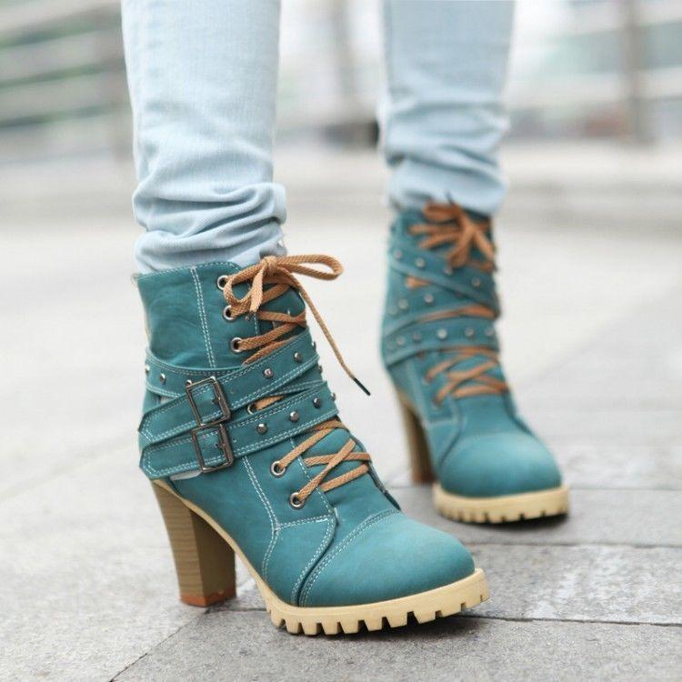 New Womens Lace up Punk Ankle Boots Shoes Belt Buckle Block High Heel