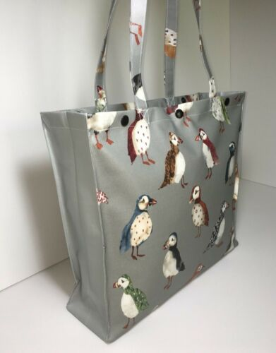 Puffins with Steel Grey Gusset in Matt Handmade,100/% Oilcloth Cotton Bags