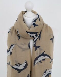 Image is loading Women-Dolphin-Scarf-Right-Whale-Nautical-Gifts-for- & Women Dolphin Scarf Right Whale Nautical Gifts for Her Ladies ...