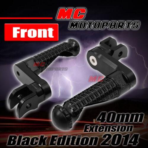 Black Shadow Front Adjustable Footpegs 40mm for Kawasaki ZX-6R 6RR Ninja 03-08