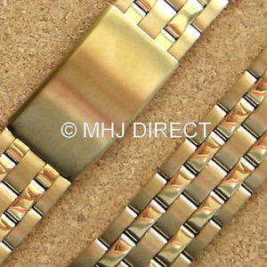 Details about Gold Plated Stainless Steel Adjustable Metal Watch Strap  Bracelet Band 20mm 22mm