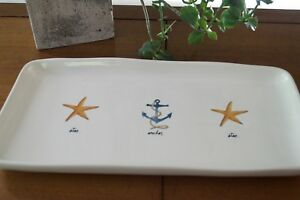 SERVING-TRAY-Or-Platter-RAE-DUNN-YELLOW-STARFISH-And-ANCHOR-DESIGN-7-034-X-14-034