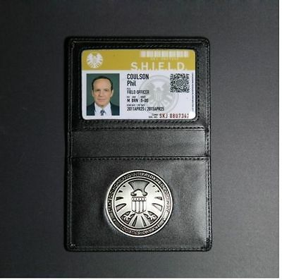 Agents of S.H.I.E.L.D. shield Metall Badge mit Leder Halter Coulson Brieftasche