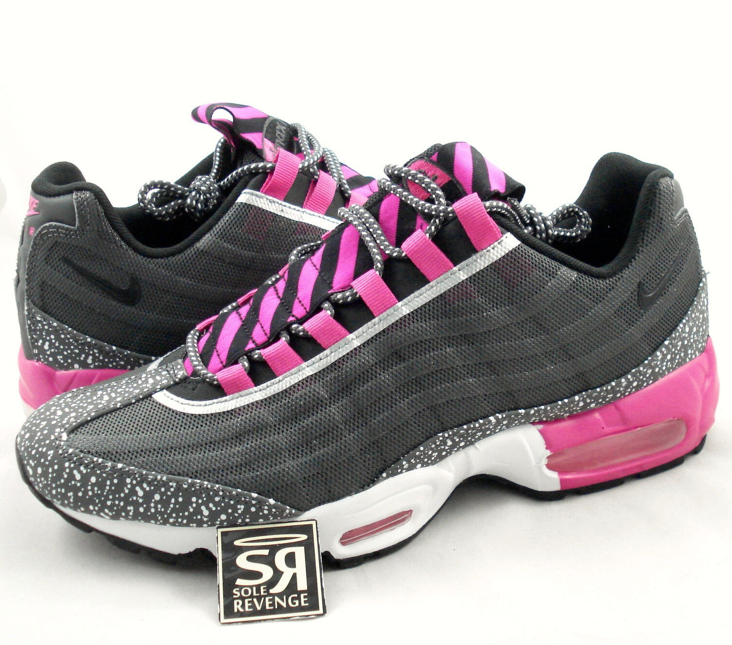 NEW 10 Hommes Nike Air Max 95 Premium Tape Running Midnight Fog/ Noir /Pink Foil