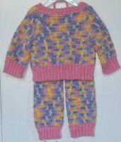 Boutique Baby Girl Pastel Warm Up Sweater Pants Set Hand Made
