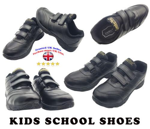8,8,9,20,11,12 1,2,3,4,5 UK SELLER BOYS SCHOOL SHOES BLACK FLEX LEATHER SIZES 7
