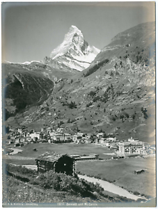 Wehrli-Suisse-Zermatt-amp-Mont-Cervin-vue-generale-Vintage-print-Photomeca