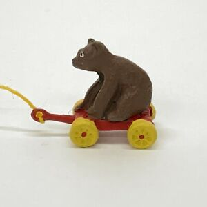 Dollhouse-Miniature-Metal-Pull-Toy-Brown-Bear-In-Red-Wagon-Yellow-Wheels-5-8-034