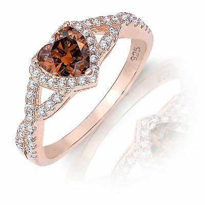 Brown Coffee Heart Infinity Simulated Diamond Rose Gold 925 Ring