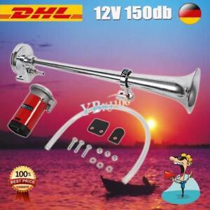 12V-150db-Nebelhorn-Lufthorn-Druckluft-Horn-Fanfare-Hupe-PKW-LKW-Boot-Chrom-PL01