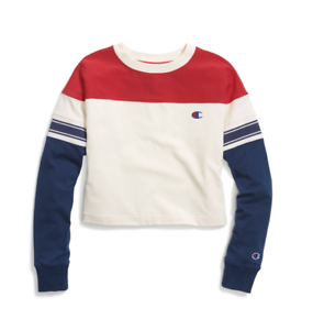 Champion Cream Imperial Indigo rot Exaggerated Long Sleeve Cropped T-Shirt