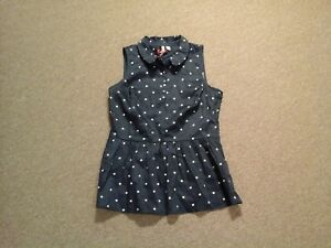 b8e4e448a0538 Image is loading Elle-NWT-navy-blue-amp-white-polka-dot-