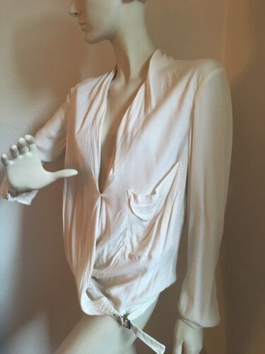 Orig Off Grm Weiss Bluse Lang Morse White Helmut Draped Blouse Top Natur rOSrTq0