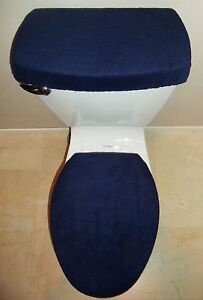 Navy Blue Fleece Fabric Toilet Seat Cover Set Bathroom