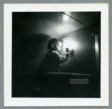 #325 Young Child Plays With an Electric Light Fixture, Vintage Photo