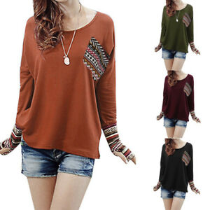 Women-Patchwork-Blouse-T-Shirt-Casual-Loose-T-Shirt-Blouse-Tops-With-Thumb-Holes