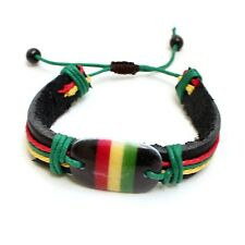 Rasta Stripe Leather Band Bracelet Wrist Bracelet Hippie Reggae Marley 1Sz Fit