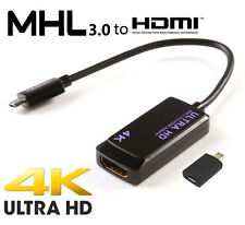 MHL 3.0 4K Ultra HD Micro USB To HDMI Adapter Note 4 3 Xperia Z5 Z3 Z2 HTC M7 M8