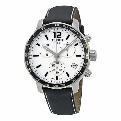 Tissot Quickster Silver Dial Chronograph Men's Black Strap Watch T0954171603700