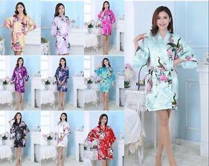 Women-Plain-Silk-Satin-Robes-Bridal-Wedding-Bridesmaid-Bride-Gown-Kimono-Robe-amp